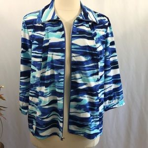 🦋 Chico's Zenergy Watercolor Blue Jacket 🦋